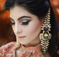 Bollywood Gold Plated Jewelry Pearl Kundan Chandbali Set Jhumka Chain Earrings