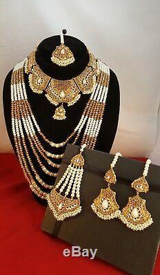 Bollywood Indian Gold Earrings Necklace tikka Tika bridal choker chooker set
