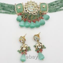 Bollywood Indian Gold Plated Kundan Choker Necklace Earring Fashion Jewelry Sets