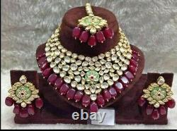 Bollywood Indian Kundan Choker Necklace Earrings Gold Plated Bridal Jewelry Set