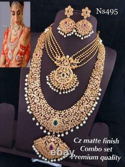 Bollywood Indian Matt Gold Plated Bridal CZ Jewelry Necklace Earrings Set Combo