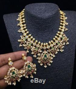 Bollywood Style CZ AD 18k Gold Plated Fashion choker Pearl Necklace Earring Set