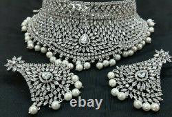 Bollywood Style CZ AD Bridal Fashion Jewelry Choker Wedding Necklace Earring Set