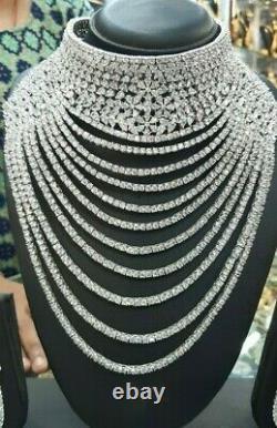Bollywood Style CZ AD Wedding Bridal Fashion Jewelry Necklace Earrings Big Set