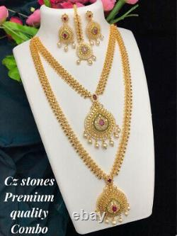 Bollywood Style Indian Gold Plated Long Haram Necklace Earrings Tikka CZ Jewelry