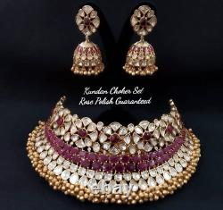 Bollywood Style Indian Jewelry Bridal Ruby Choker Kundan Necklace Earrings Set