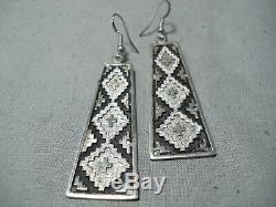 Breathtaking Vintage Navajo Sterling Silver Dangle Earrings Native American Old