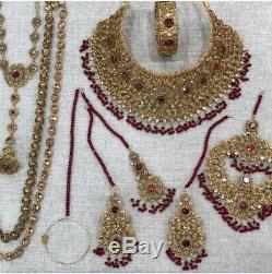 Bridal Indian jewelry Pakistani jewellery earrings Set Gold Choker tika jhumar