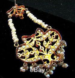 CHANDELIER EARRINGS w PEARLS 22K GOLD INDIAN WEDDING JEWELRY VINTAGE