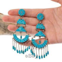 CLIPS FEDERICO JIMENEZ Turquoise Earrings Sterling Silver LONG Dangles 3.75