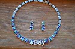 Calvin Begay Navajo necklace and earrings, slightly used, silver, turquoise