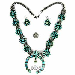 Carico Lake Turquoise Squash blossom & Earring set by Ella Peter