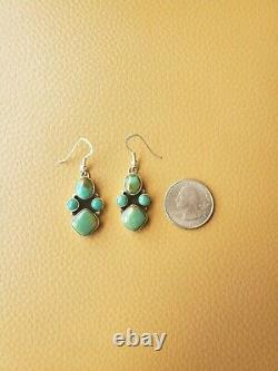 Carico Lake Turquoise Squash blossom & Earring set by Ray Bennett