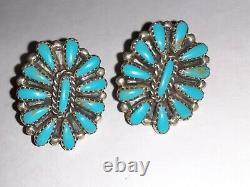 Cluster Turquoise Signed Earrings Sterling Silver 925