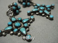 Cute Vintage Zuni Snake Eyes Turquoise Silver Earrings Old