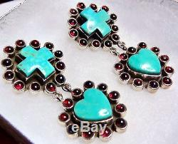 DAN DODSON Turquoise Plum Garnet Sterling Silver Cross Heart Earrings 2-1/2