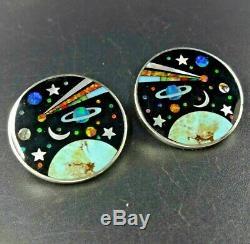 DAVID R FREELAND JR Celestial Space Galaxy EARRINGS Smooth Gemstone Micro Inlay