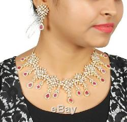 DS-83 Indian Bollywood Fashion Jewelry Gold Plated Wedding Necklace Earring Set