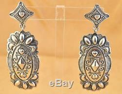 Darryl Becenti Signed Sterling Silver Repousse Hearts Navajo Dangle Earrings