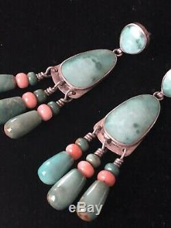 Dead Pawn Antique Sterling Turquoise Coral Earrings Native American Hand Made