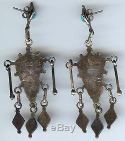 Delberta Boone Zuni Indian Silver Petit Point Turquoise Pierced Dangle Earrings