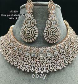 Delicate Bollywood CZ AD Ruby Gold Jewelry Necklace Earrings Set Indian Wedding