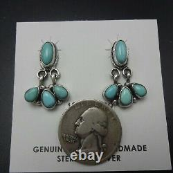 Delicate NAVAJO Sterling Silver CLEAR BLUE TURQUOISE Cluster Dangle EARRINGS