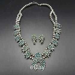 Delicate OLD 1930s ZUNI Sterling Turquoise SQUASH BLOSSOM Necklace Earrings SET
