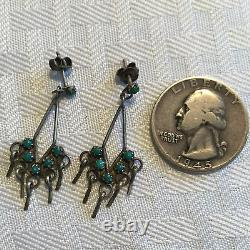 Delicate Vintage ZUNI Sterling Silver & Petit Point TURQUOISE Dangle EARRINGS