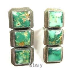 Della Francis James Old Pawn Vintage Sterling Silver Turquoise Clip On Earrings