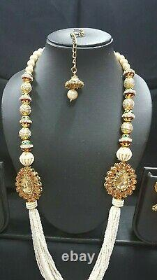 Designer Gold Pearls Indian Bollywood Necklace Earrings Tikka Jewellery Set
