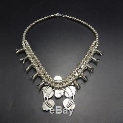 Diminutive Vintage NAVAJO Sterling Silver Turquoise SQUASH BLOSSOM Necklace SET