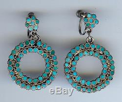 Dishta Vintage Zuni Indian Sterling Silver Flush Inlay Turquoise Dangle Earrings