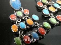 Don Lucas Multi Gemstone Sterling Silver 925 Drop Dangle Pierced Post Earrings