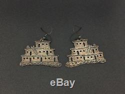 Douglas Etsitty Vintage Navajo Indian Sterling Silver Pueblo Earrings