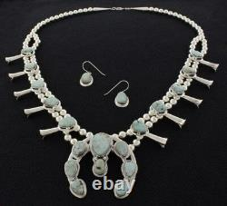 Dry Creek Turquoise Squash Blossom Necklace And Matching Earrings Set
