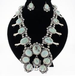 Dry Creek Turquoise Squash Blossom Necklace With Matching Earrings