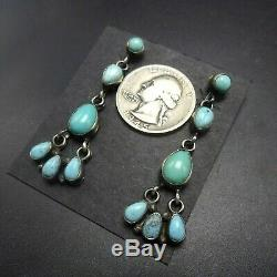 ELLA PETER Stylish NAVAJO Sterling Silver TURQUOISE Cluster Dangle EARRINGS