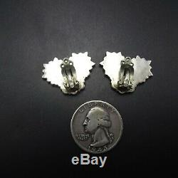EXQUISITE Vintage ZUNI Sterling Silver TURQUOISE Petit Point EARRINGS Clip-On