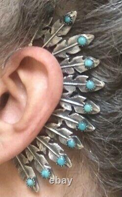 Ear Wrap Navajo Earring Turquoise Snake Eye Sterling Climber Cuff Hook Behind
