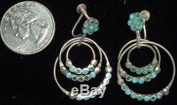 Early Frank Dishta, Sterling & Turquoise Earrings, Screw Backs