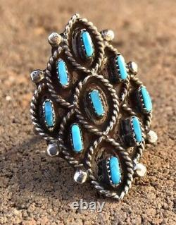 Early Old Zuni Sterling Silver Needlepoint Sleeping Beauty Turquoise Ring
