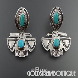 Eddie Chee Navajo Sterling Silver Turquoise Eagle Dangle Post Earrings