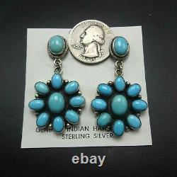 Eleanor Largo NAVAJO Sterling Silver TURQUOISE Cluster Dangle Pierced EARRINGS