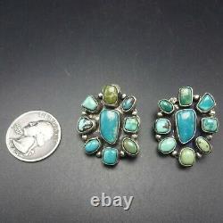 Ella Peter NAVAJO Sterling Silver TURQUOISE Mosaic Cluster EARRINGS Pierced