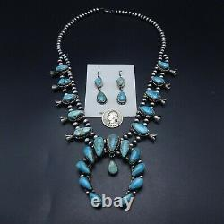 Ella Peter NAVAJO Sterling Silver Turquoise SQUASH BLOSSOM Necklace Earrings SET