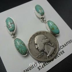 Enchanting NAVAJO Sterling Silver TURQUOISE Drop Dangle Pierced EARRINGS