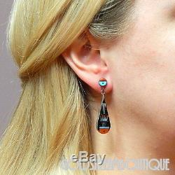 Ervin Tsosie Navajo 925 Silver Micro Inlaid Yei Be Chei Dangle Post Earrings