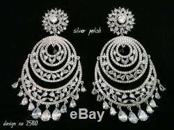 Ethnic Bollywood Style Bridal Jewelry Indian CZ Earring AD Earrings Jhumka Setnn