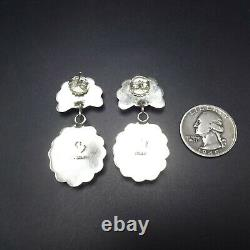 Exquisite NAVAJO Sterling Silver CLEAR BLUE TURQUOISE Cluster EARRINGS Pierced